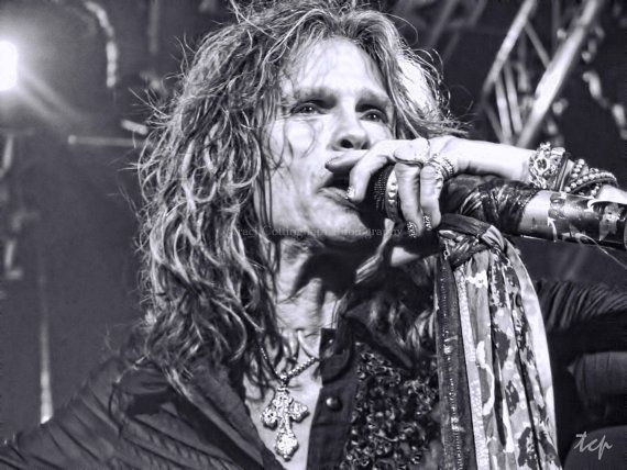 Steven Tyler Sings Fine Art Entertainment Print  8 x 10 inches and up black and white Aerosmith concert singer icon idol rock star on Etsy, $26.46 CAD