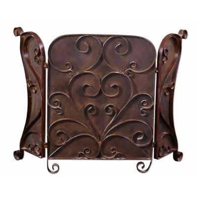 Uttermost Daymeion Fireplace Screen in Hand Forged Metal