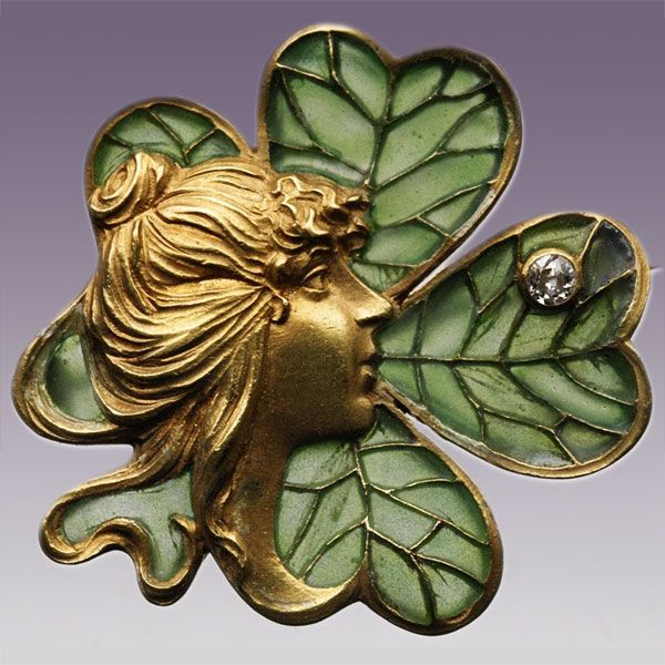 Four Leaf Clover Brooch ART NOUVEAU Probably American, c.1900: