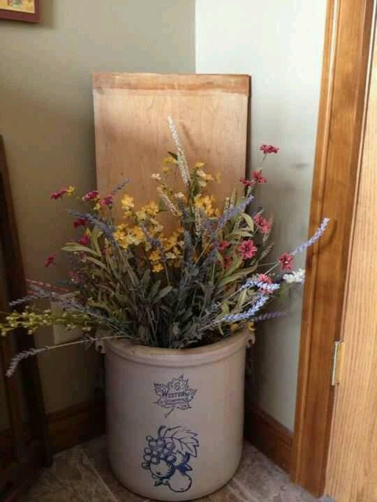Dried Flowers In 2019 Antique Crocks Farmhouse Decor