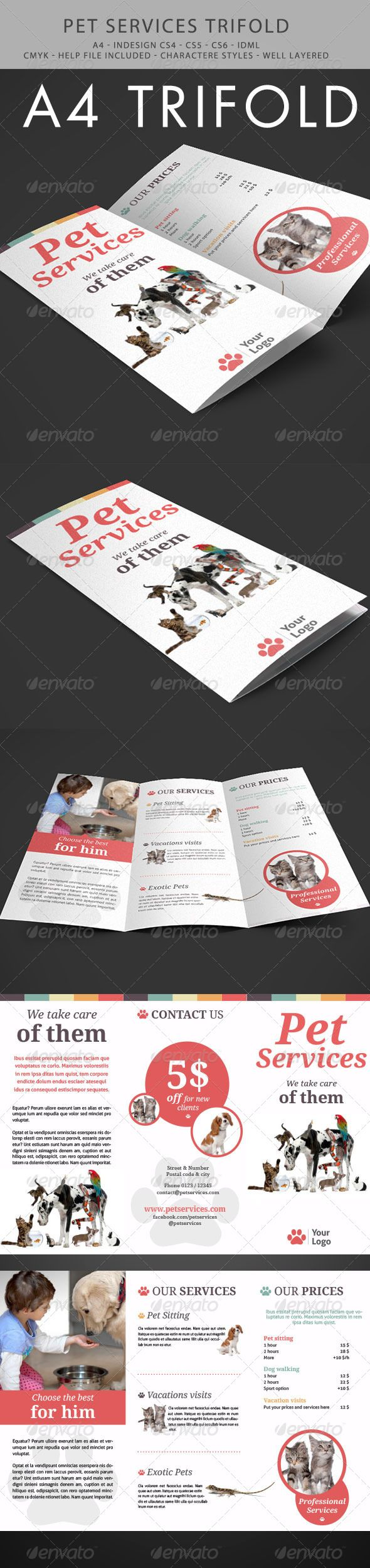 Amazing Pet Services Trifold InDesign Template • Only available here ➝ http://graphicriver.net/item/pet-services-trifold/6035992?ref=pxcr