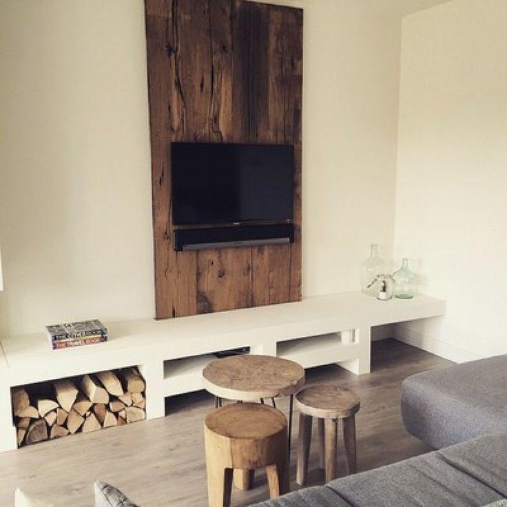 Die besten 25+ Tv wand zelf maken Ideen auf Pinterest | Holzwand ...