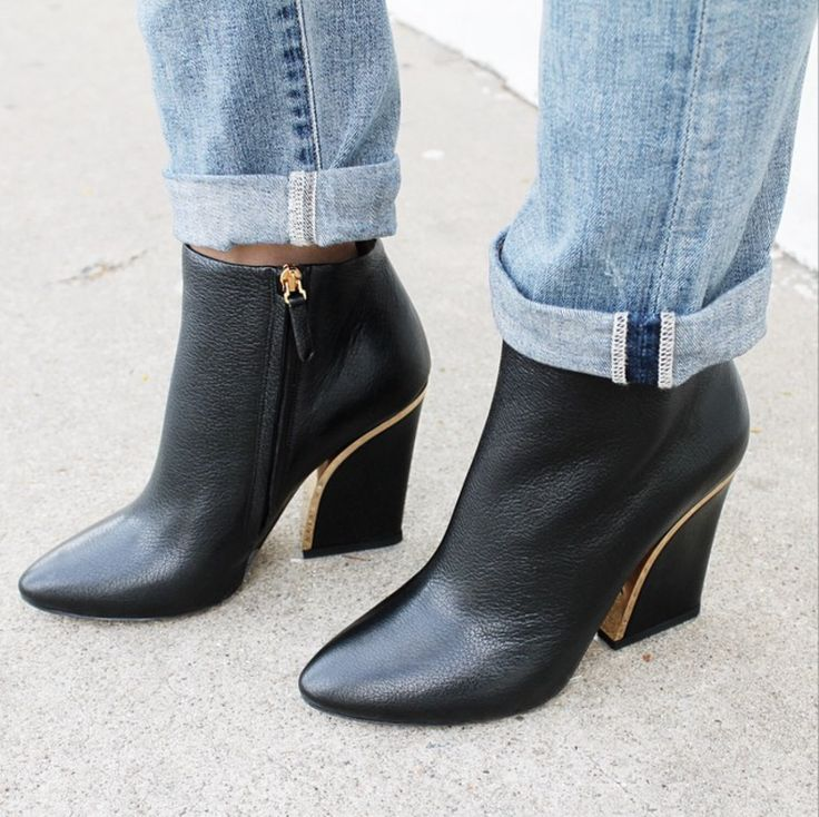 """We seriously can't stop obsessing over these Chloé Gold Trimmed Ankle Boots ($995.00). The pointed toe combined with the gold detailing on the heel make these the ultimate cool gal shoe. Shop 'em online while they're still here! (Psssst... don't forget to use your """"halloween14"""" discount code)"""