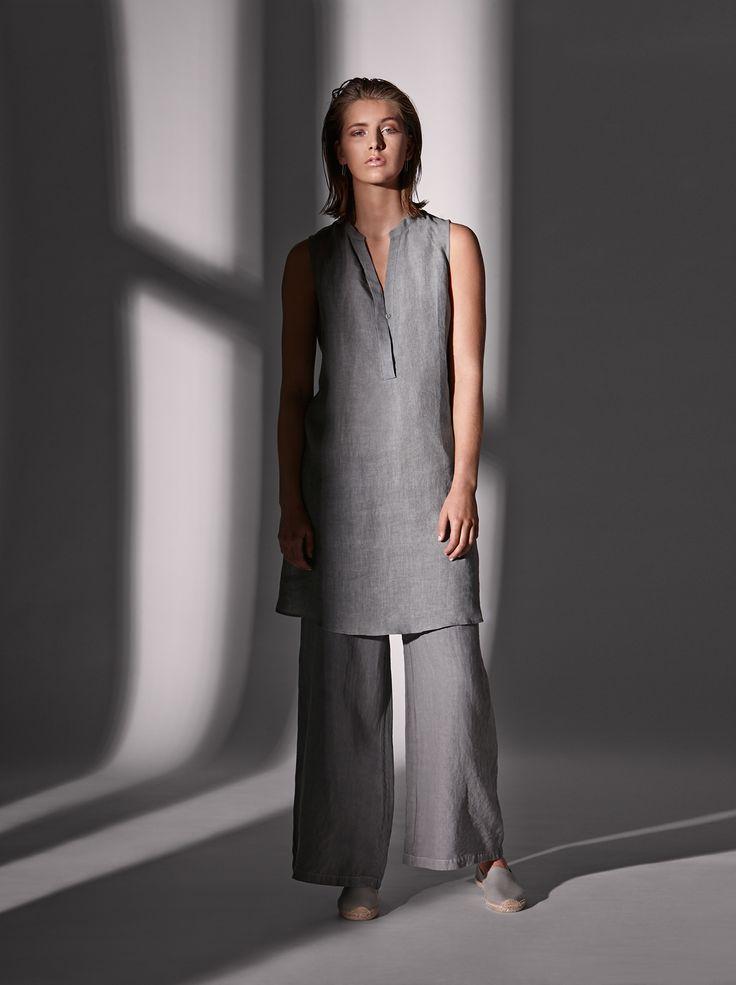 Linen tab tank dress and calypso pant.