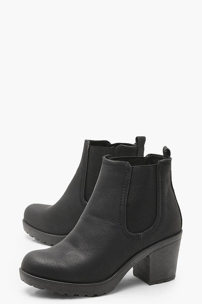 3d4f0816435b Wide Fit Chunky Cleated Heel Chelsea Boots