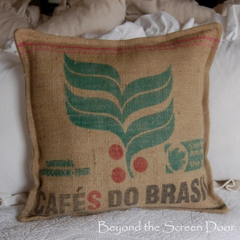 Burlap Coffee Sack Pillow