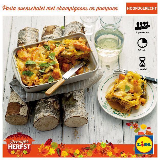 Pasta ovenschotel met champignons en pompoen #Lidl #Herfst