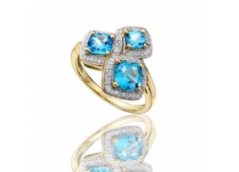 CUSHION CUT BLUE TOPAZ AND DIAMOND RING