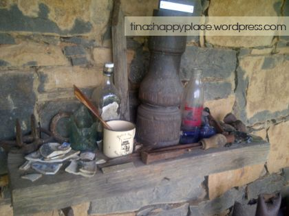 Some vintage bits and bobs displayed on the 'stoep' at Wyford Farm