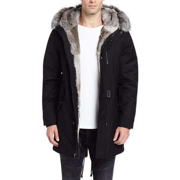 Mackage Mortiz-X Parka w/Fox & Rabbit Fur Trim (€1.275) ❤ liked on Polyvore featuring men's fashion, men's clothing, men's outerwear, men's coats, black, mens fur lined coat, mens hooded coats, mens fox fur coat, mens parka coats and mens fur hood coat