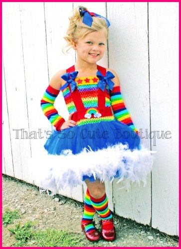 Rainbow Brite Inspired Tutu Dress...perfect Halloween outfit!