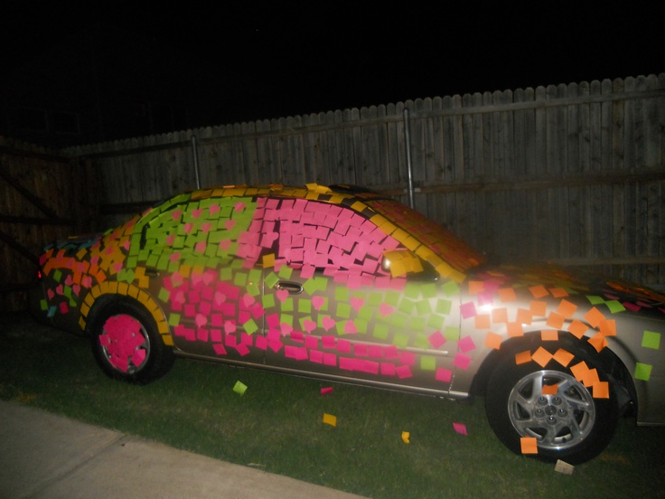 That's a lot of Post It Notes (they were ALL over the car inside and out) . . . guess who was out-of-town for this teenage prank and guess who got to clean it up . . .  not the 17 year old.