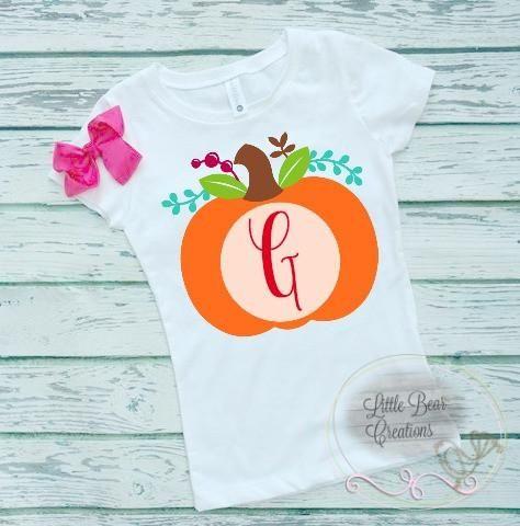 $12 WEEKEND DEAL Adorable Monogram PUMPKIN Shirt! NB-2XL! Perfect for photos!