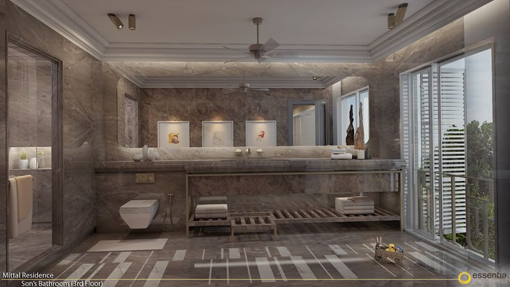 Single toned breezy bathrooms designed for a teenager , part of a 14 bedroom city home designed by Monica Chawla of essentia.