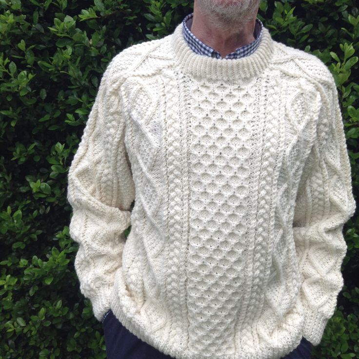 Traditional Aran Knitting Patterns : The design on this Saddle Shoulder #Aran_sweater incorporates the traditional...
