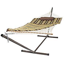 Best Choice Products Cotton Rope Hammock & 12 Feet Steel Stand Combo w/ Stripe Pad and Pillow