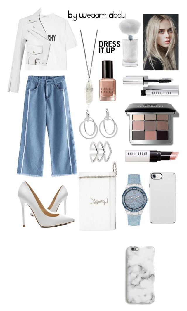 """Denim n White"" by weaam-abdu on Polyvore featuring Jimmy Choo, Givenchy, Calvin Klein 205W39NYC, GUESS, Speck, Yves Saint Laurent, Nine West, Astrid & Miyu, Bobbi Brown Cosmetics and Harper & Blake"