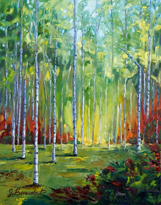 PRINT of oil painting Autumn Trees by JBeaudetStudios on Etsy, $20.00