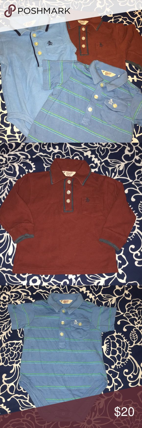 Original Penguin baby Polo bundle These Original Penguin polos/onesies are in EXCELLENT pre-loved condition. Worn only a couple of times for family photos. There is one long sleeve polo (burgundy with navy contrast piping) and then 2 short sleeve onesie both baby blue, one striped and one with the contrast piping. Original Penguin Shirts & Tops Polos