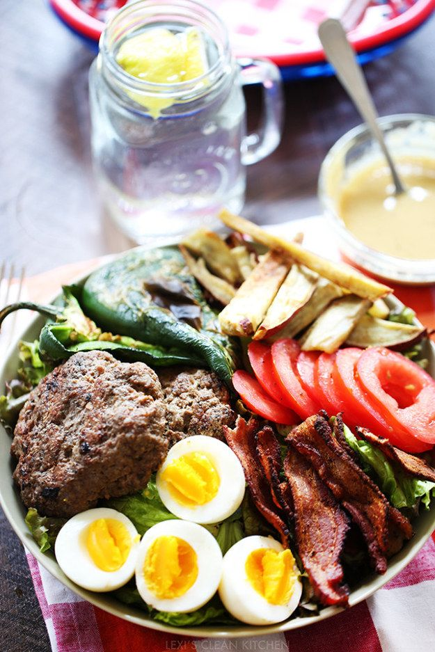 Burger Salad with Mustard Dressing   24 Giant Salads That Will Make You Feel Amazing
