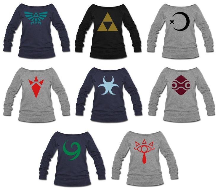 Zelda Symbols Womens Wideneck Sweatshirt S-XXL AWESOME!!! I