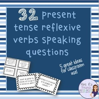 Want to get your French students using reflexive verbs orally? Need help with a fun way to practice speaking?This NO PREP activity using reflexive verbs is always a favorite in my class.It can be used after learning the present tense reflexive verbs or as a back to school review for advancing students.There are 32 questions in all. Click here to see it!