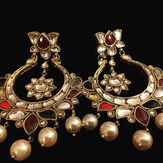 Navratan#chaandbali#jewellery#indian#earrings#polki#