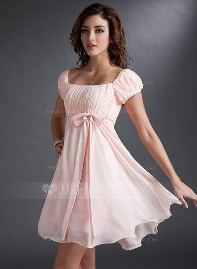 A-Line/Princess Square Neckline Short/Mini Chiffon Satin Homecoming Dress With Ruffle Beading (022021033)