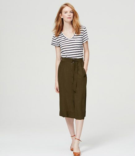 Image of Button Front Midi Skirt