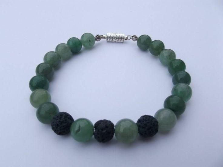 Men's bracelet Green aventurin and vulcan lava rocks