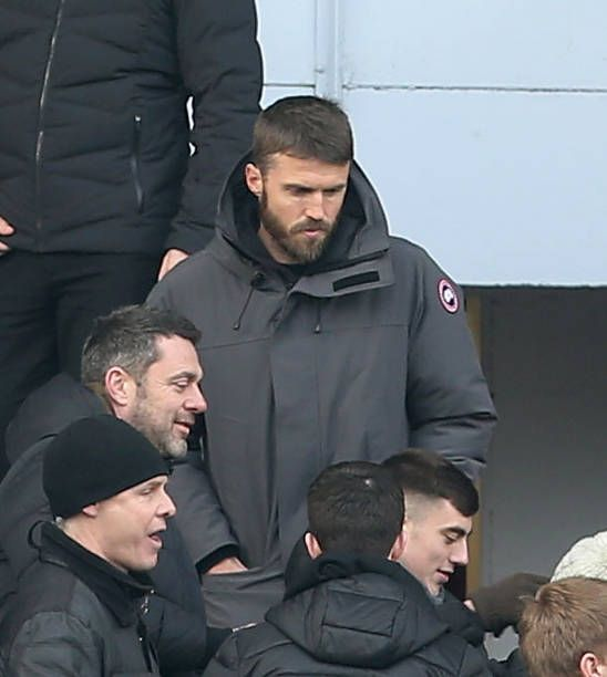 Michael Carrick of Manchester United watches from the stand during the Premier League match between Burnley and Manchester United at Turf Moor on...