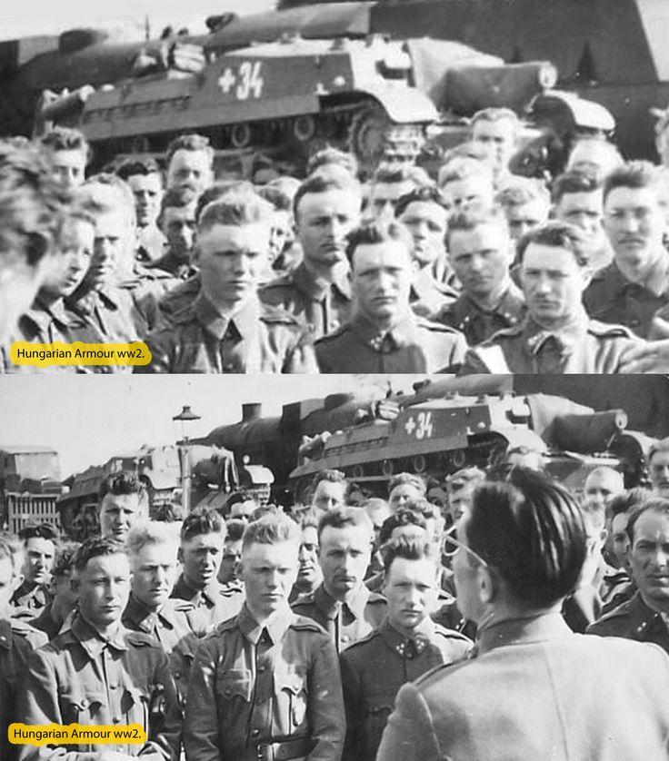 1944.Junius. Indulás a frontra. Az 1/3 üteg bevagonírozása ,a platón a 4.és 5. löveg. Hajmáskér 1944. Entrainment of the 1/3 battery (Hajmáskér Hungary) 1944.