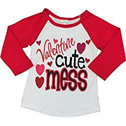 Boutique Clothing Girls Valentine Raglan T-Shirt 6X Red Hearts Valentine Cute Mess