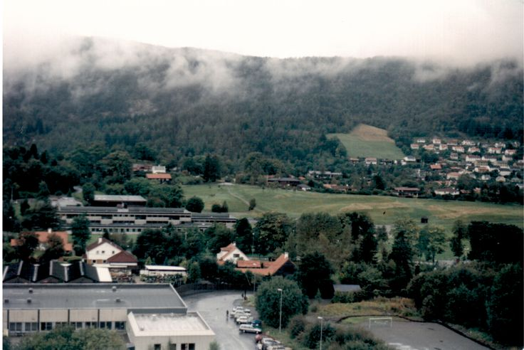 A view from my student hostel room of Fantoft student town, in Bergen, Norway
