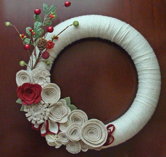 Christmas Wreath. Holiday Wreath. Flower & Berry Wreath.  Ivory, Tan, and Burgundy Wreath. 12in.  Yarn and Felt Wreath.. $39.00, via Etsy.♥