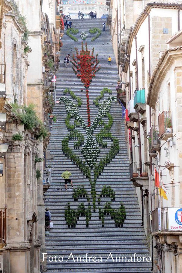 The Staircase of Santa Maria del Monte, in Caltagirone, Italy, is a unique landmark completely covered in ceramic tiles, which hosts two unique events - La Scala Infiorata and La Luminaria