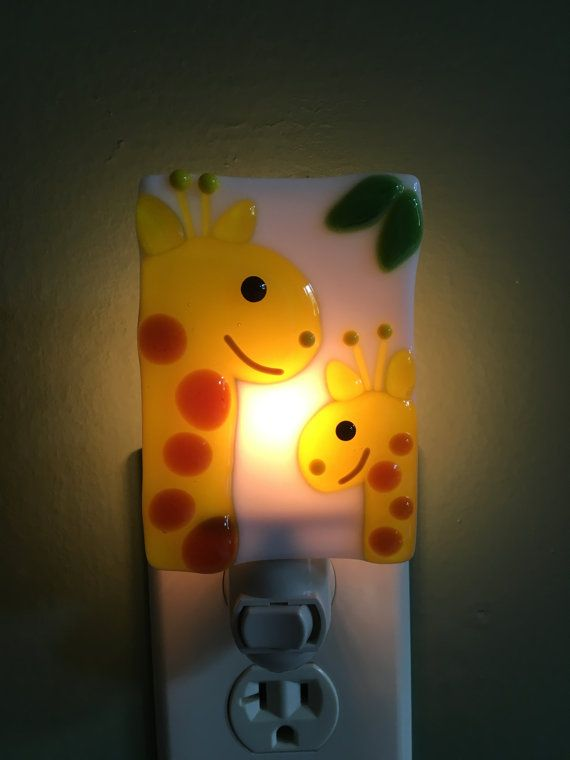 Giraffe Nursery Night Light Nightlight Fused Gl Safari Zoo Animal Plug In Wall Art Baby Shower Gift Stained Pinterest