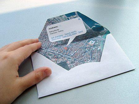 Envelope: Google Maps, Wedding Cards, Wedding Ideas, World Maps, Maps Envelopes, Destinations Wedding, Parties Invitations, Diy Wedding, Snails Mail