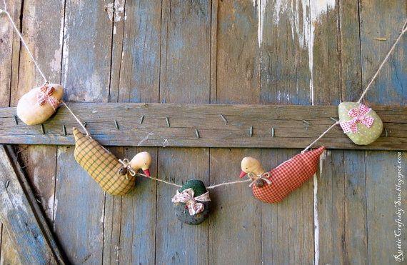 Patos primitiva de guirnalda Pascua patos Garland-primitivo