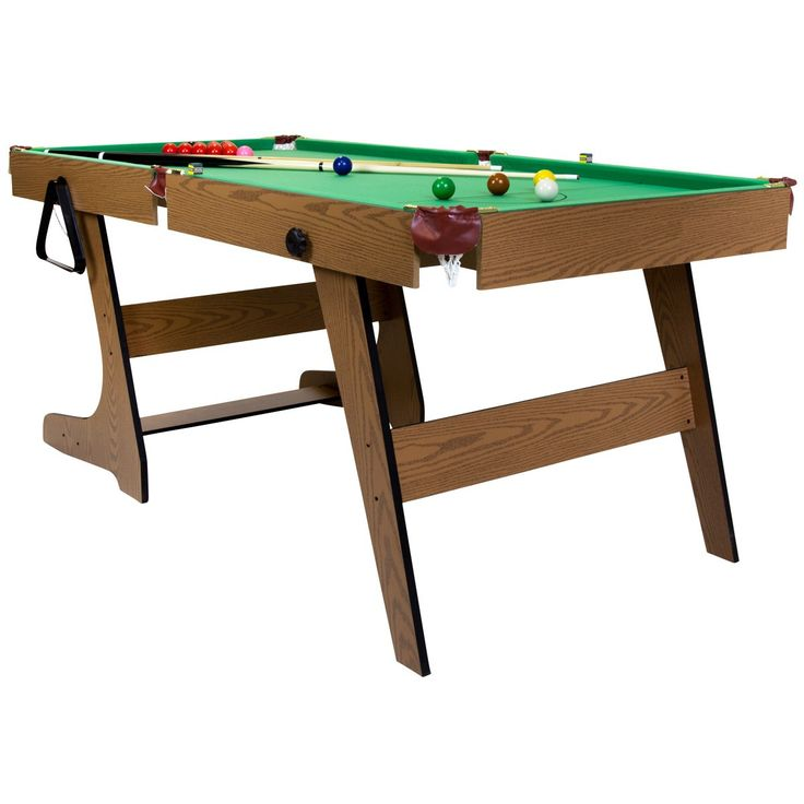 This Deluxe 6u0027 Folding Snooker / English Pool Table Has That Extra Length  For Improved Play And Along With The Faux Leather Lined Pockets It Gives  The Feel ...