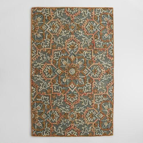 Embroidered Floral Tufted Wool Area Rug   World Market