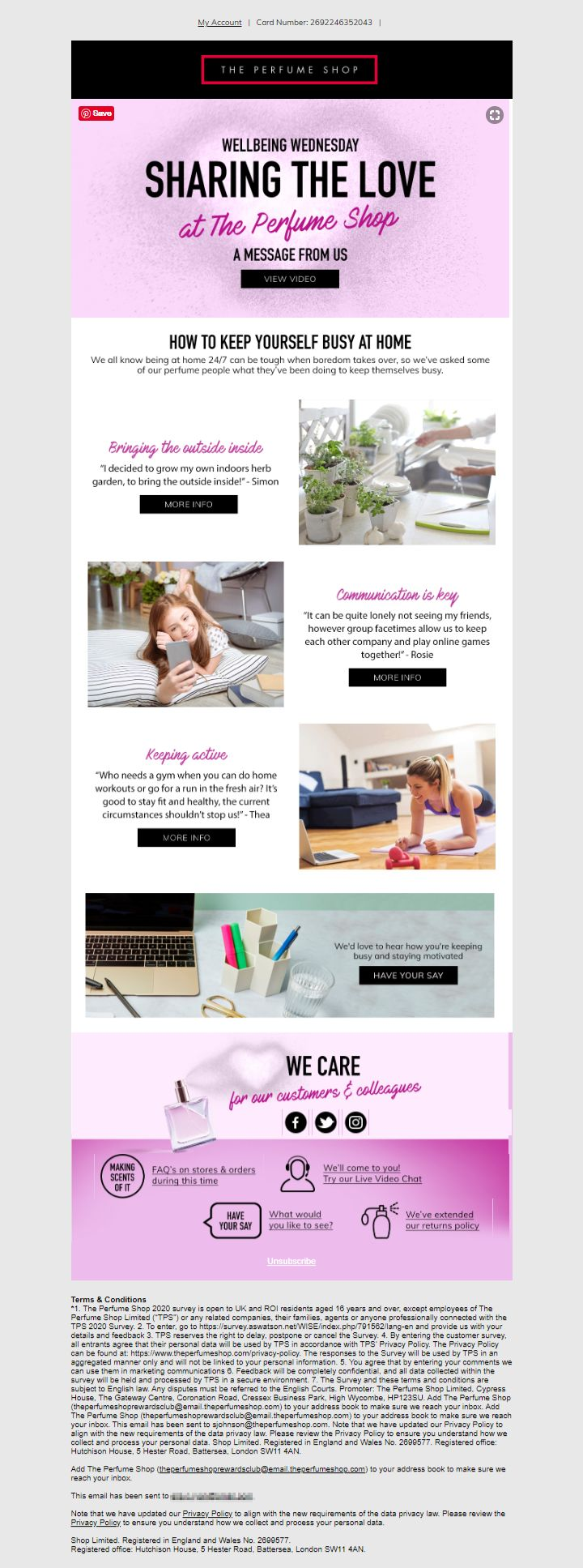 How to keep yourself busy at home newsletter email from