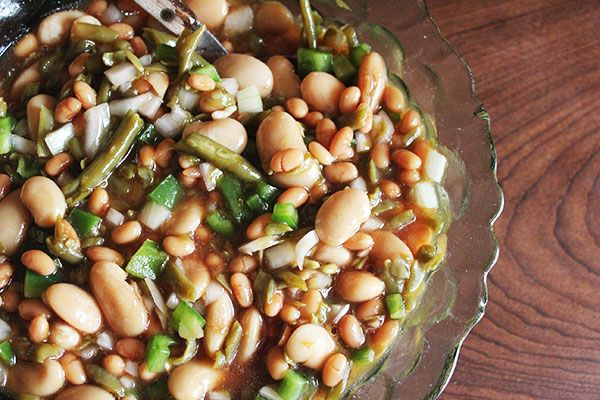 Three Bean Salad - simple salad with store cupboard ingredients! Perfect for Christmas lunch as a side!