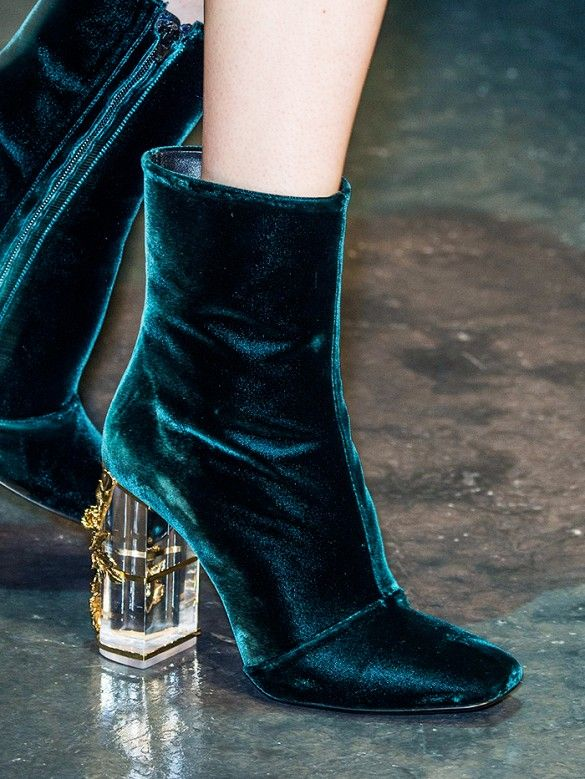 Teal velvet boots with lucite embellished heels at Roberto Cavalli F/W 15