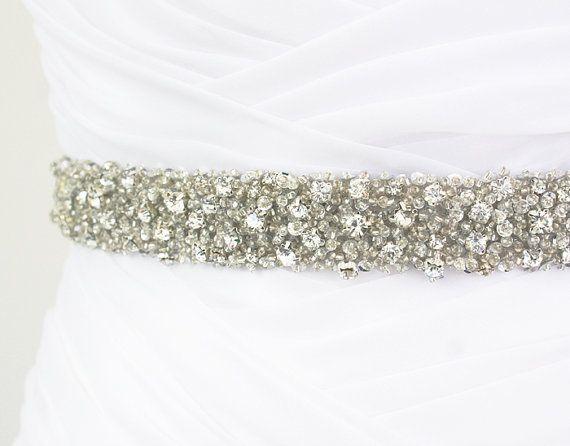 "Best Seller - CORINNE - 1"" Bridal Couture Crystal Rhinestone Encrusted Bridal Sash, Wedding Beaded Sash Belt"