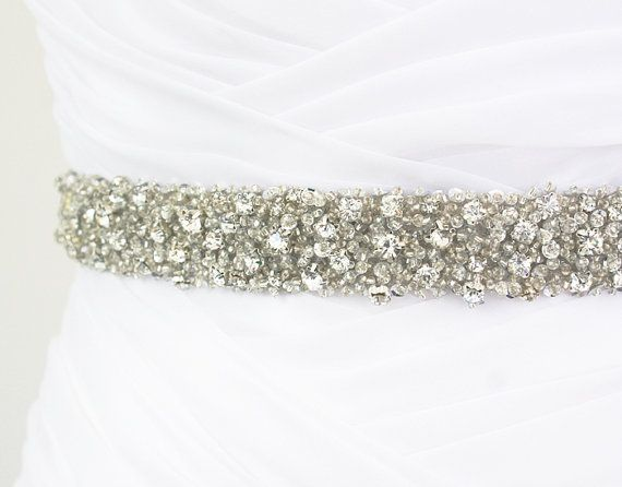 "SALE 20% Off - Best Seller - CORINNE - 1"" Bridal Couture Crystal Rhinestone Encrusted Bridal Sash, Wedding Beaded Sash Belt"