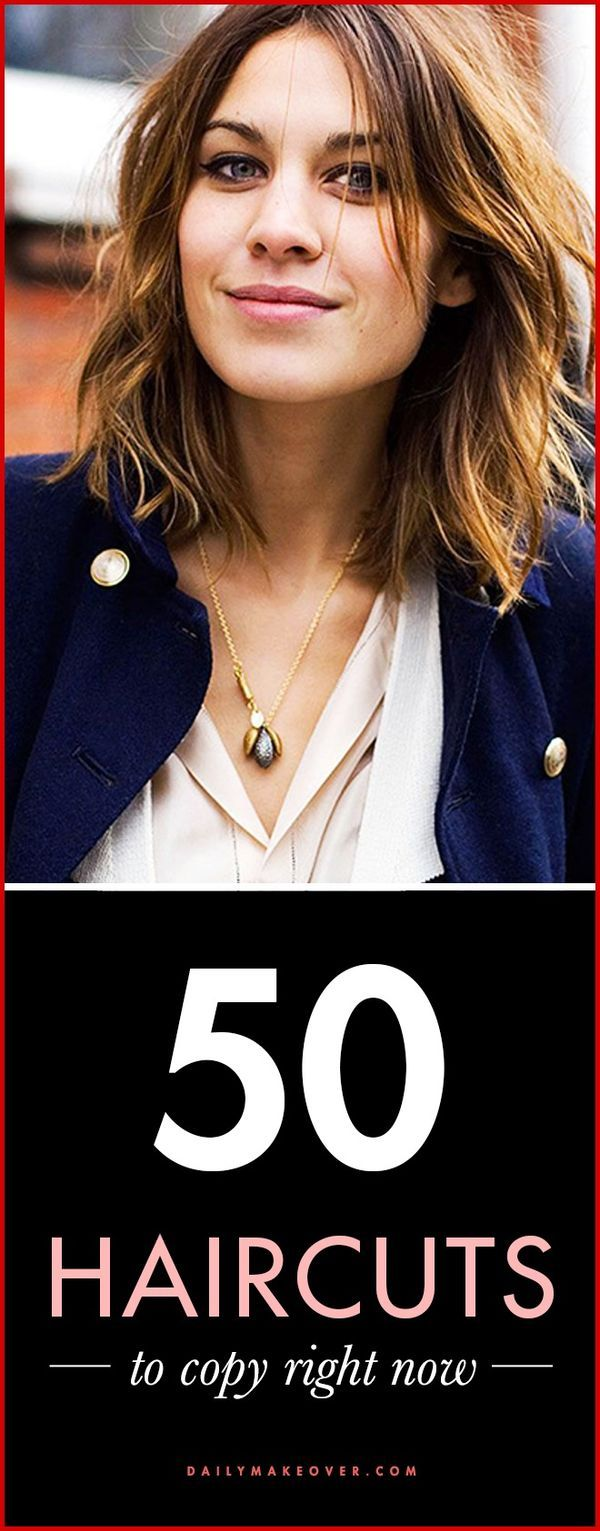 Haircut Ideas - 50 gorgeous haircuts to copy right now | #47: Alexa Chung's choppy ends and long, grown-out bangs make for a cool, laidback hairstyle.
