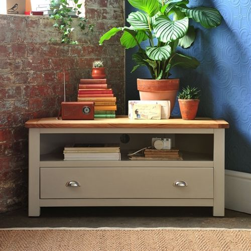 Lundy Stone Grey Corner TV Unit with Free Delivery from The Cotswold Company. TV Stand, Oak Media Unit, Country Furniture, Country Home, TV Unit with Drawers, Half-cup handles, Furniture Styling, Living Room Furniture, House Plants