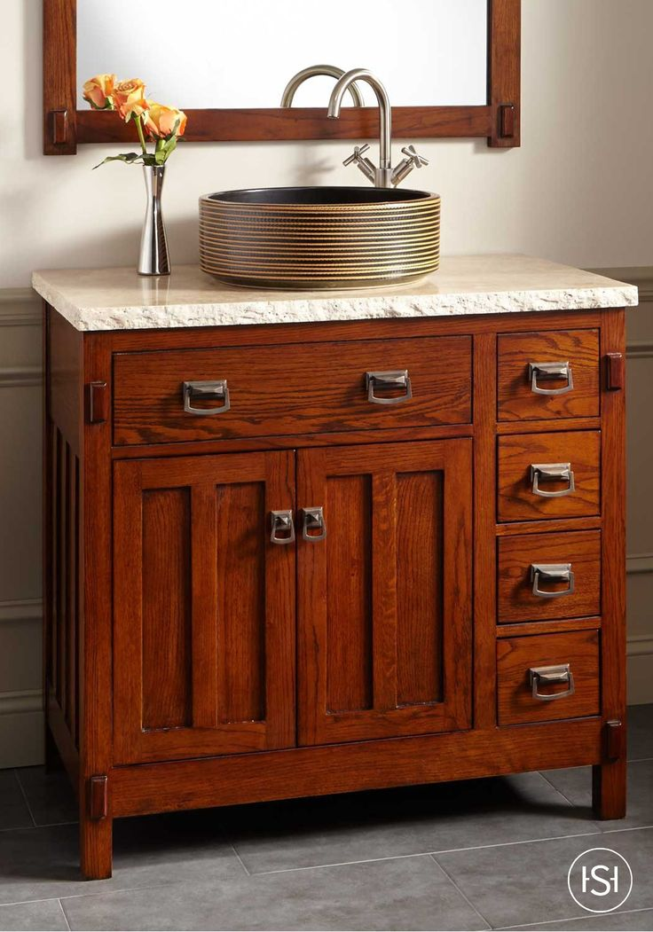 30 bastian teak vessel sink vanity rustic brown - Bathroom cabinets sinks and vanities ...