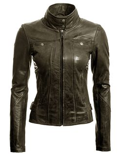 Danier : outlet : women : leather jacket in khaki green is perfect for autumn types